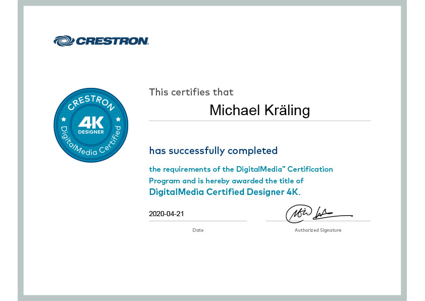 Zertifikat Michael Kräling Crestron CTI-P201