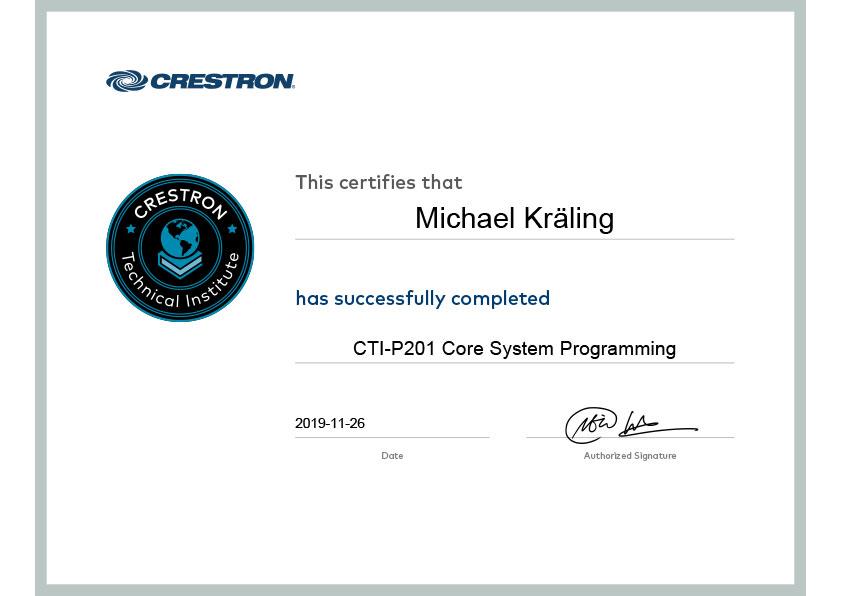 Zertifikat Michael Kräling Crestron