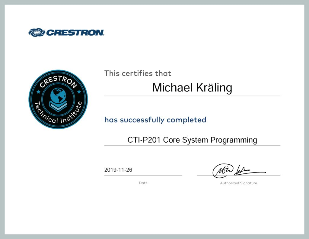 Certificate CTI P201 2019 Andy Mediatainment