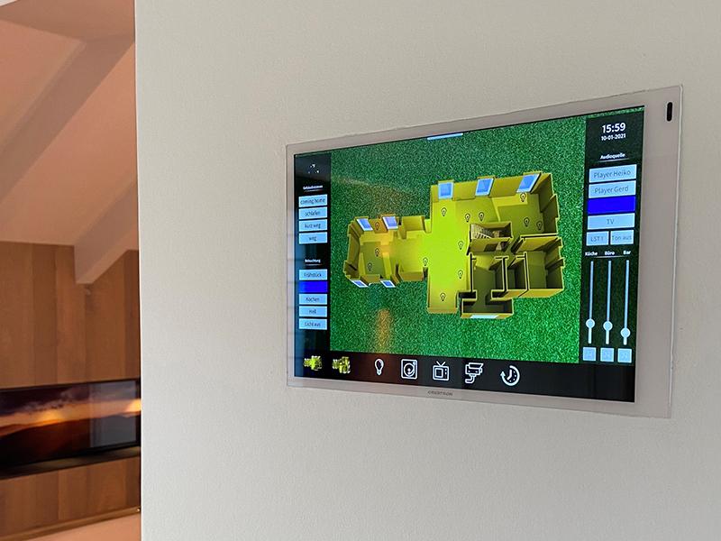 Crestron Smarthome Touchscreen mit Bedienoberfläche