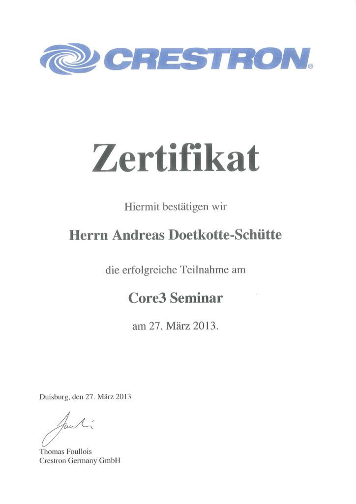 Crestron Zertifikate Andreas Doetkotte-Schütte Programmierung Core3