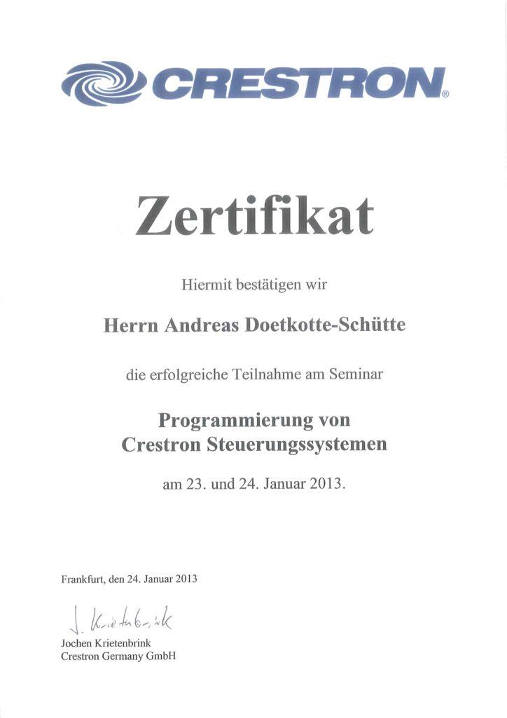 Crestron Zertifikate Andreas Doetkotte-Schütte Programmierung Crestron