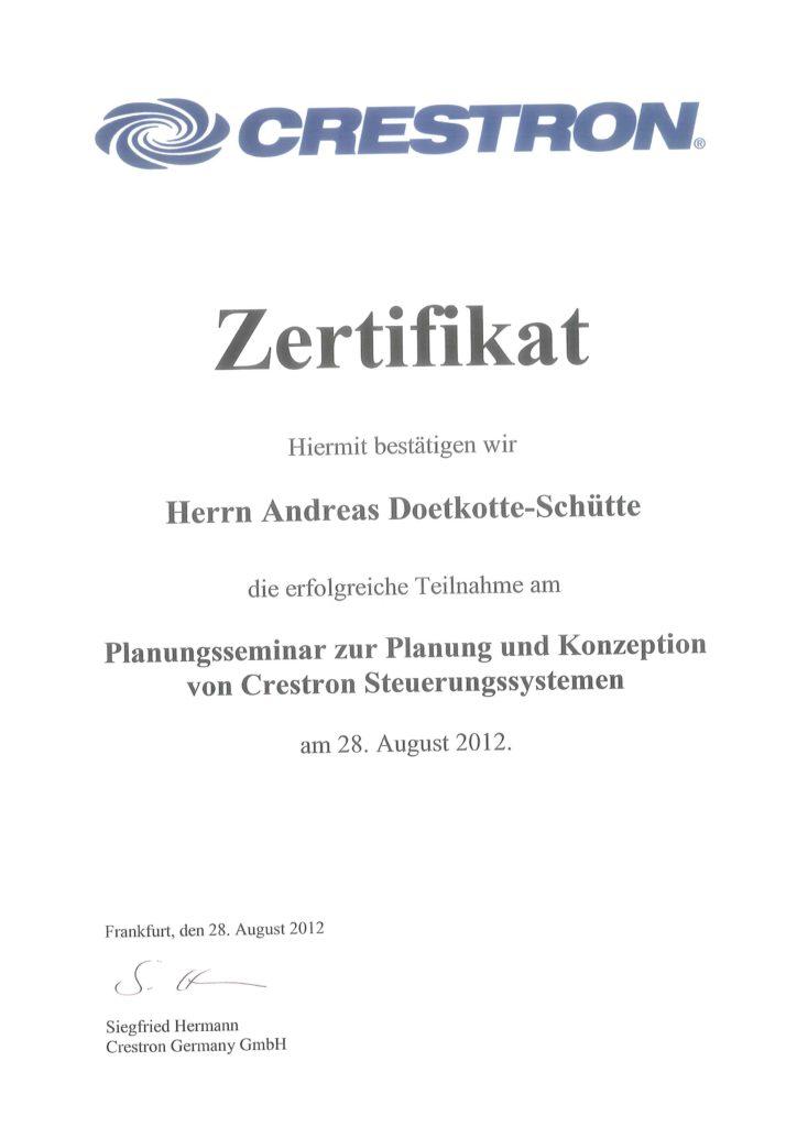Crestron Zertifikate Andreas Doetkotte-Schütte Planung