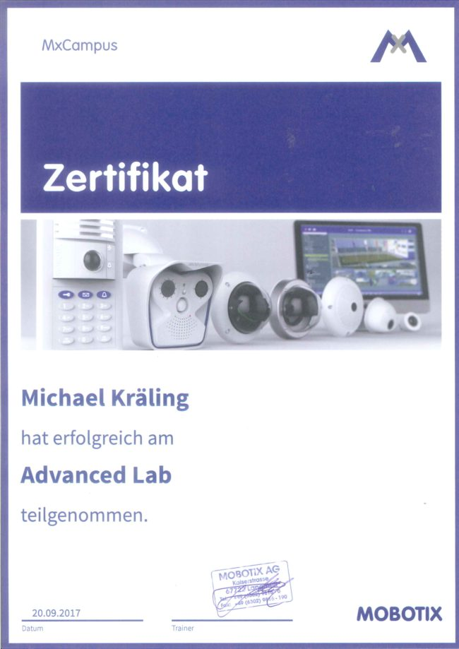 Zertifikat Mobotix Advanced Michael Kräling