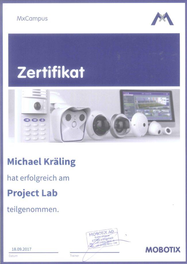 Zertifikat Mobotix project LAB Michael Kräling