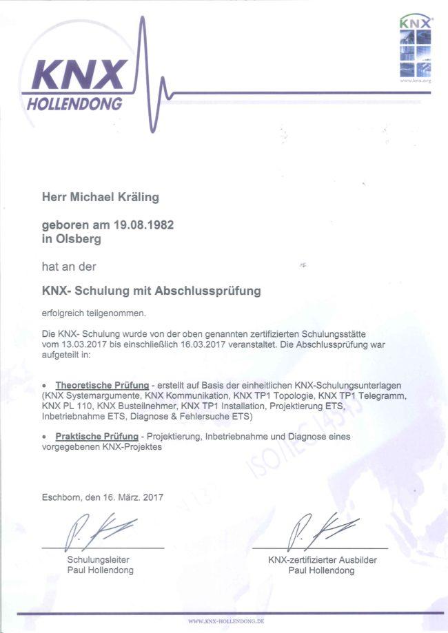 Zertifikat KNX Michael Kräling