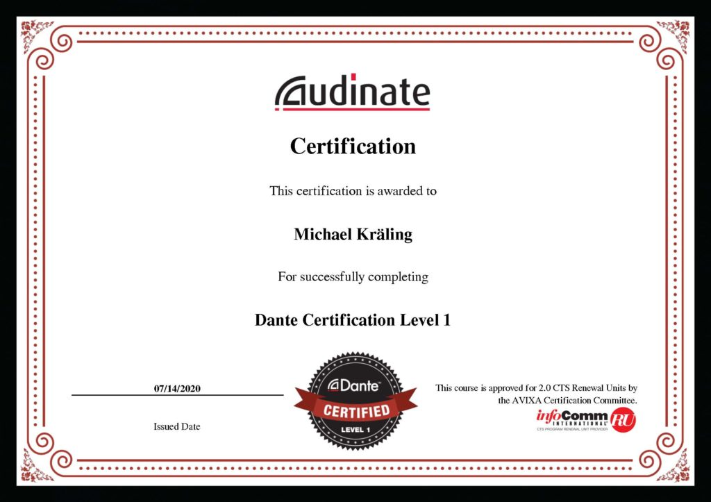 Zertifikat Dante Level 1 Michael Kräling
