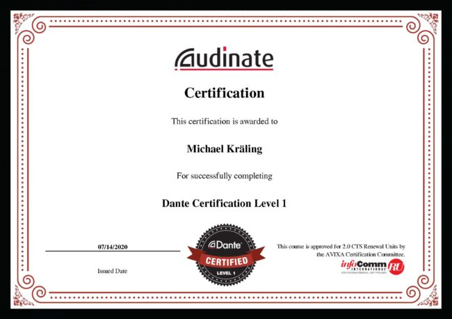 Zertifikat Dante Level 1 Michael Kräling