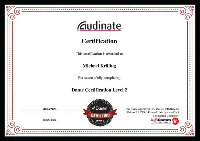Zertifikat Dante Level 2 Michael Kräling