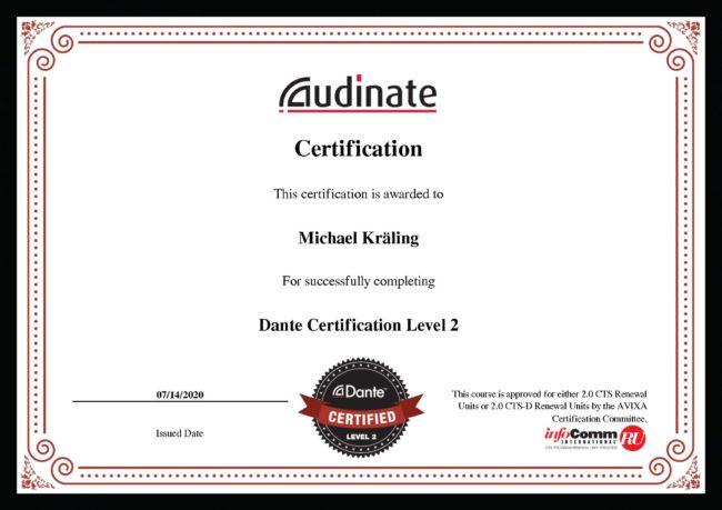 Zertifikat Dante Level 2 Michael Kräling