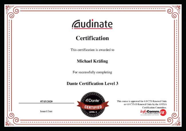 Zertifikat Dante Level 3 Michael Kräling